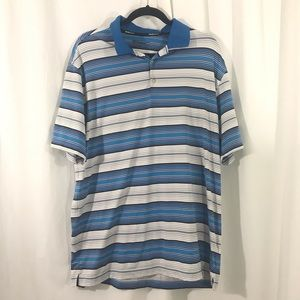 Nike Golf Dri Fit Blue Gray Striped Shirt L